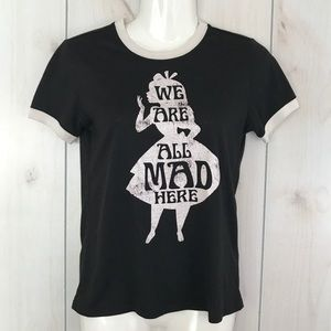 Alice in Wonderland We Are All Mad Here Ringer Tee